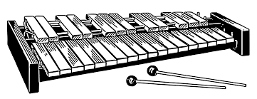 A xylophone with wooden bars and mallets.